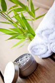 Wellness and spa beauty treatment objects on wooden background — Stock Photo