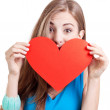 Smiling young woman and red heart love valentines day — Stock Photo #29398011