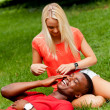 Stock Photo: Young couple in love summertime fun happiness romance
