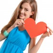 Smiling young woman and red heart love valentines day — Stock Photo #29683605