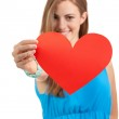 Smiling young woman and red heart love valentines day — Stock Photo #29683769