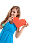 Smiling young woman and red heart love valentines day — Stock Photo