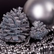 Christmas decoration in silver on black — Stock Photo