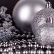Christmas decoration in silver on black — Stock fotografie