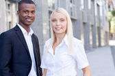 Successful business team diversity outdoor summer — Stock Photo