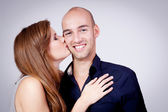 Young attractive couple in love embracing portrait — Foto Stock