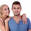 Young smiling couple in love portrait isolated — Stock Photo #31061373