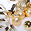 Festive golden christmas decoration isolated  — Stock Photo
