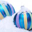 Christmas decoration baubles in blue and turquoise isolated — Stock Photo #31063485