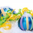 Christmas decoration baubles in blue and turquoise isolated — Stock Photo #31063595