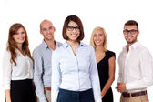 Young successful business team smiling portrait isolated — Foto de Stock