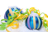 Christmas decoration baubles in blue and turquoise isolated — ストック写真