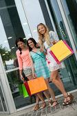 Attractive young girls women on shopping tour — Foto de Stock