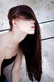 Beautiful woman portrait wirth long straight dark brown hair — Stock Photo
