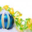 Christmas decoration baubles in blue and turquoise isolated — Stock Photo #31661179
