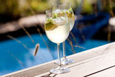 Hugo prosecco elderflower soda ice summer drink — Stock Photo