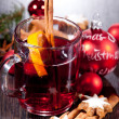 Hot tasty spicy mulled red wine with orange and cinnamon christmas — Stock Photo #34281665