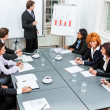 Business team on table in office conference — Stock Photo