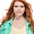 Young smiling redhead woman portrait isolated expression — Stock Photo #34284555