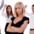 Young businesswoman bullying mobbing by team isolated  — Stock Photo