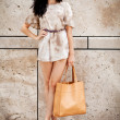 Attractive young brunette woman in sexy dress and handbag  — Stok fotoğraf