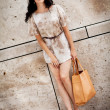 Attractive young brunette woman in sexy dress and handbag  — Stock Photo