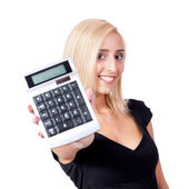 Attractive smiling business woman with calculator isolated — Stock Photo