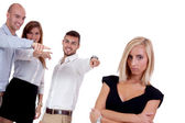 Young businesswoman bullying mobbing by team isolated — Foto de Stock