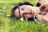 Beautiful dreamy woman in summer — Stock Photo