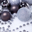 Glitter silver christmas baubles decoration holidays isolated — Stock Photo #34368511