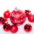 Christmas decoration festive red bauble in snow isolated — Foto Stock
