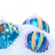 Christmas decoration baubles in blue and turquoise isolated — Stock Photo #34379973