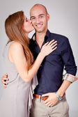 Young attractive couple in love embracing portrait — Stockfoto
