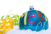 Christmas decoration baubles in blue and turquoise isolated — Foto de Stock