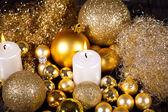 Festive glitter christmas decoration bauble seasonal — Stock Photo