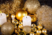 Festive glitter christmas decoration bauble seasonal — Stock fotografie