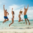 young happy friends havin fun on the beach — Stock Photo #35608513