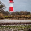 Landscape baltic sea dunes lighthouse in red and white  — Stock Photo