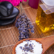 Lavender massage oil and bath salt aroma therapy wellness — Stock Photo #35613773