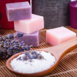 Handmade lavender soap and bath salt wellness spa  — Stock Photo