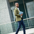 Young successful african business man outdoor in summer — Stock Photo