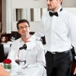 Man and woman for dinner in restaurant — Stock Photo #35618813