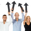 Happy people showing up black arrows isolated  — Stock Photo