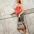 Young woman in summer with handbag fashion  — Stock Photo