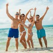 young happy friends havin fun on the beach — Stock Photo #36606297