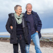 Happy elderly senior couple walking on beach — Stock Photo