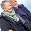 Happy senior couple elderly people together outdoor — Stock Photo #36607183