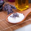 Lavender massage oil and bath salt aroma therapy wellness — Stock Photo #36607415