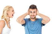 Jovem mulher gritando com namorado isolado — Fotografia Stock