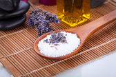 Lavender massage oil and bath salt aroma therapy wellness — Stock Photo